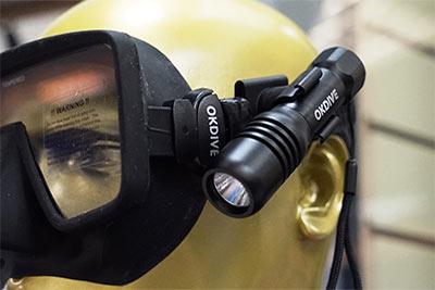 Фонарь на маску,каску или подводное ружье
